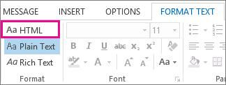 Opsyen format HTML pada tab Format teks dalam mesej
