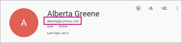 Butiran pengguna dalam Pusat Pentadbiran aplikasi Google