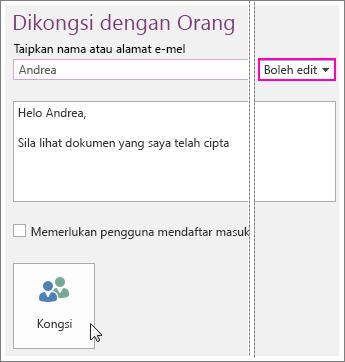 Petikan skrin UI Perkongsian dalam OneNote 2016.
