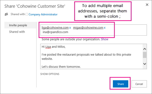 Taipkan alamat e-mel pelanggan yang patut mendapat jemputan untuk mencapai sublaman.