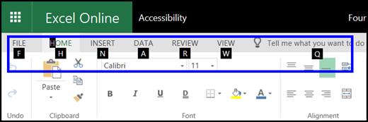 ExcelOnline reben yang menunjukkan tab rumah dan petua kekunci pada semua tab