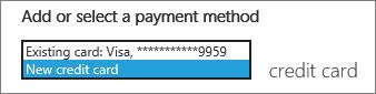 """Petikan skrin menu juntai bawah dengan """"Kad kredit baru"""" dipilih"""
