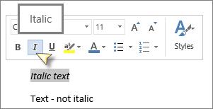 Pilih teks kemudian klik Italik