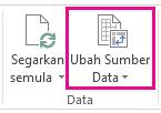 Butang Ubah Sumber Data pada tab Analisis bagi Alat Jadual Pangsi