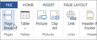 Butang Pemisah Halaman dalam Word Web App