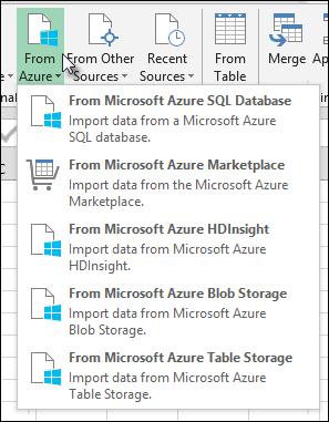 Power Query Import dari Azure dialog