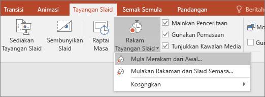 Menunjukkan butang rakam tayangan slaid dalam powerpoint