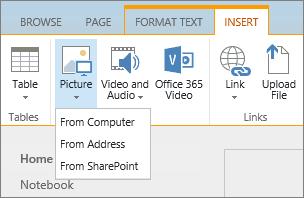 Petikan skrin reben SharePoint Online. Pilih tab selitkan dan kemudian pilih gambar untuk memilih sama ada untuk memuat naik fail dari komputer anda, alamat web atau lokasi SharePoint.