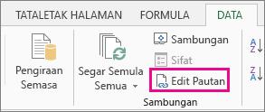 Edit pautan pada tab Data
