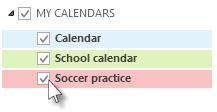 Kalendar dengan kotak semak disenaraikan dalam Anak tetingkap Folder.