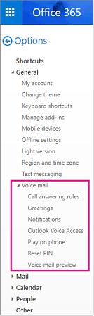 Opsyen mel suara pada tetingkap opsyen e-mel Outlook