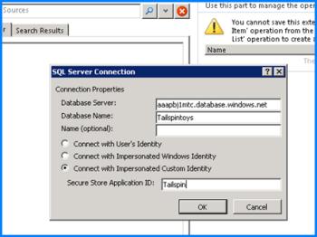 Petikan skrin dialog Sambungan SQL Server yang anda boleh masukkan nama pangkalan data pelayan SQL Azure anda dan menggunakan Sambung dengan ID Samaran Tersuai untuk memasukkan ID Aplikasi Secure Store anda.