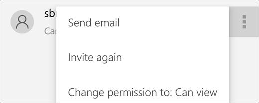 Opsyen pengguna menguruskan membenarkan anda menghantar jemputan atau mengubah capaian pengguna ke fail.