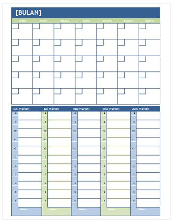 Kalendar Perancangan Bulanan dan Mingguan (Word)