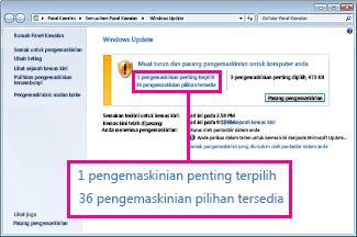 Pautan dalam anak tetingkap Windows Update