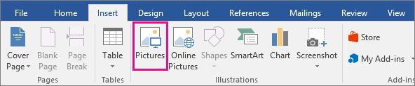 Ikon Gambar diserlahkan pada tab Selitkan.