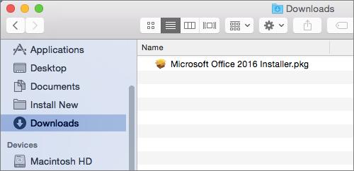 Ikon Muat Turun pada Dok menunjukkan pakej pemasang Office 365