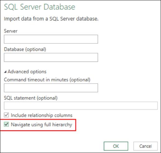 Penyambung pangkalan data perhubungan Excel Power BI yang dipertingkatkan