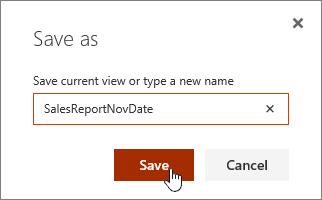 SharePoint Online pandangan Simpan sebagai dialog