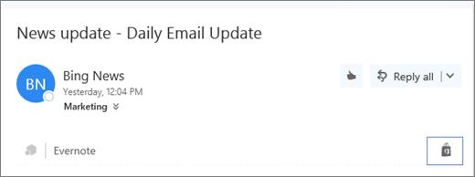 Petikan skrin petikan dari bahagian atas mesej e-mel dengan ikon gedung yang diserlahkan. Mengklik ikon terbuka tambahan untuk tetingkap Outlook, tempat anda boleh semak lalu dan memasang tambahan.
