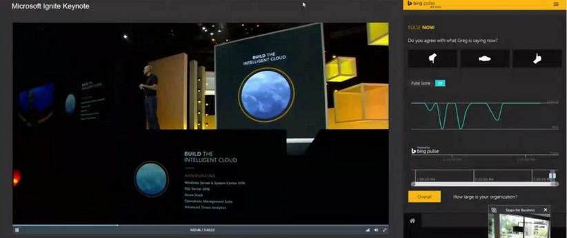 Siaran Mesyuarat Skype dengan penyepaduan Bing Pulse