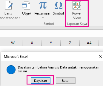 Butang Pandangan Pangsi Tersuai dan dialog menghidupkan tambahan dalam Excel