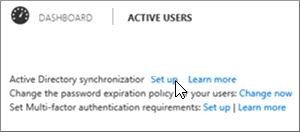 Pilih Sediakan di sebelah penyegerakan Active Directory