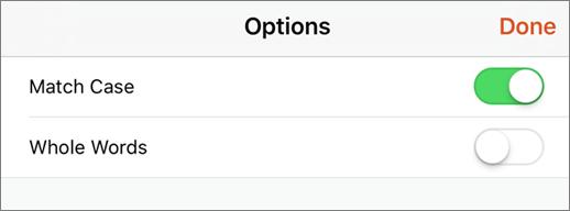 Menunjukkan opsyen carian dalam PowerPoint for iPhone.