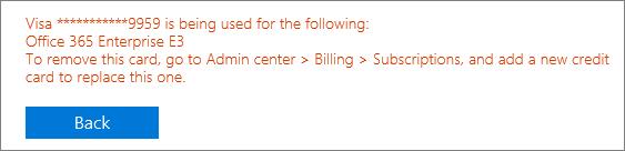 """Petikan skrin menunjukkan mesej ralat yang muncul jika anda menggunakan Kad untuk membayar langganan aktif: """"[nombor kad] digunakan seperti berikut: [nama langganan]"""""""