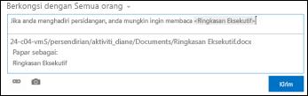 URL dokumen dalam kiriman suapan berita diformatkan dengan teks paparan