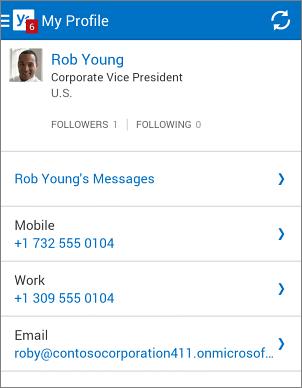 Halaman profil dalam aplikasi Yammer