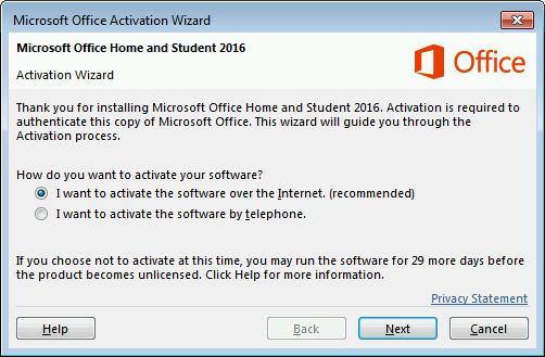 Menunjukkan Bestari pengaktifan Microsoft Office