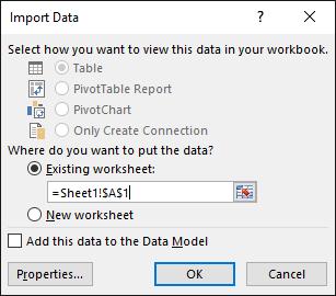 Dalam kotak dialog Import Data, pilih untuk meletak data dalam lembaran kerja sedia ada, lalai mengesetkan, atau dalam lembaran kerja baru
