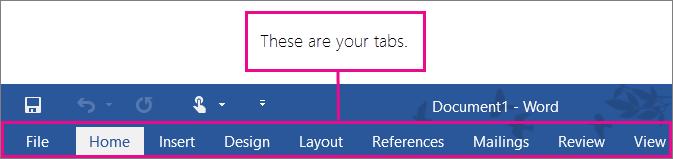 Gambar tab anda pada reben Word.