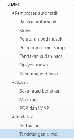 Tandatangan e-mel Outlook pada web