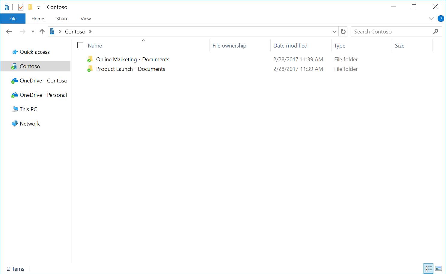 Petikan skrin menunjukkan penyegerakan folder untuk OneDrive dan laman.