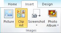 Perintah lukisan klip pada tab selitkan pada reben dalam PowerPoint 2010