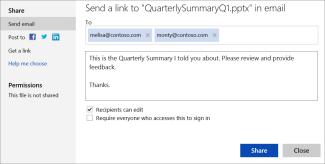Menghantar pautan ke persembahan anda melalui e-mel