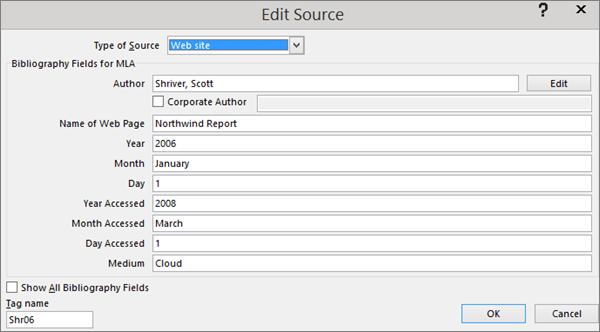 Kotak dialog Edit Sumber