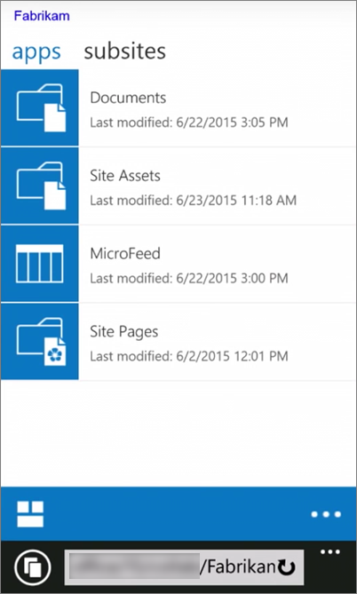 Petikan skrin bagi pandangan mudah alih laman SharePoint Server 2016