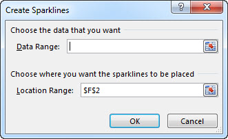 Cipta kotak dialog Sparkline