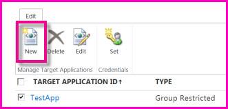 Petikan skrin halaman Pusat Pentadbiran SharePoint Online untuk mengkonfigurasi Aplikasi Sasaran Secure Store.