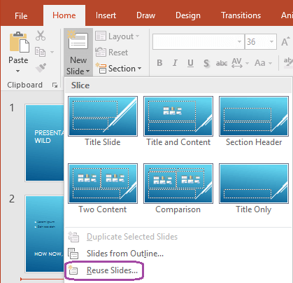 Perintah gunakan semula slaid berada di bahagian bawah menu juntai bawah slaid baru.
