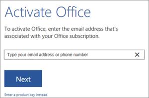 Menunjukkan kotak dialog aktifkan di tempat anda boleh mendaftar masuk untuk mengaktifkan Office