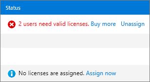 Lajur Status pada halaman Liceses.