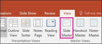menunjukkan butang induk slaid pada reben dalam PowerPoint