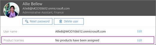 Petikan skrin menunjukkan maklumat untuk pengguna yang bernama Allie Bellew. Kawasan lesen produk menunjukkan produk tiada telah diperuntukkan untuk pengguna dan opsyen untuk mengedit tersedia.