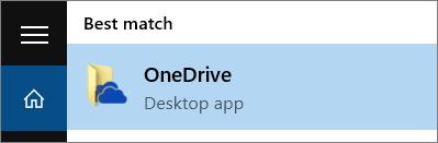 Petikan skrin bagi mencari aplikasi desktop OneDrive dalam Windows 10