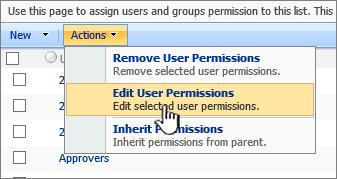 Mengedit pengguna permissioins daripada menu tindakan