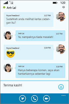 Penampilan dan suasana Skype for Business for Windows Phone baru--tetingkap perbualan